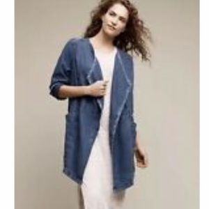 Anthropologie Hei Hei blue linen duster